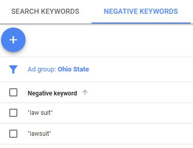 Example of negative keywords