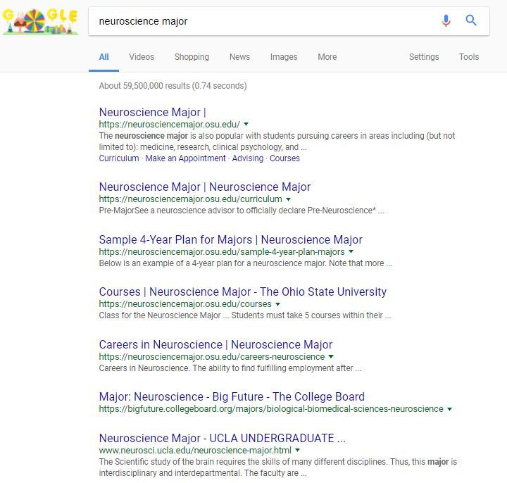 Screen capture of neuroscience major google search